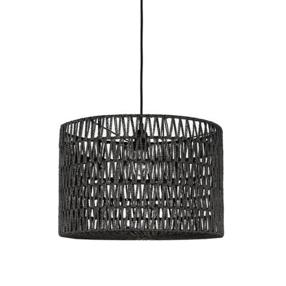 Hanglamp_Stripe_Zwart_Katoen_45x45x30_cm